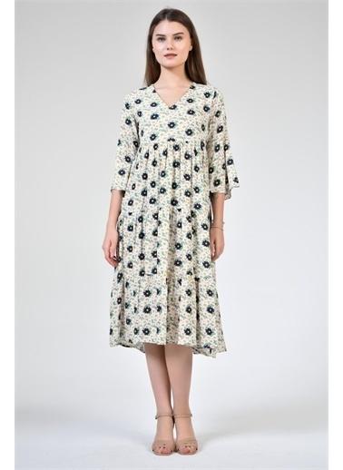 Rodi Jeans Kadın V Yaka Çiçekli Eteği Fırfır Elbise DS21YB111959 Lacivert